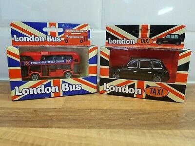 £9.85 • Buy Classic Red London Bus & Black London Taxi Die Cast Toy Vehicles. New & Boxed