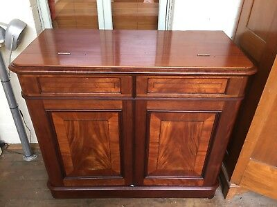AU1250 • Buy RARE Antique SofaBed In Cabinet Fold Away Bed Flame Mahogany Compaign Cupboard