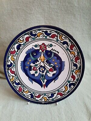 £10 • Buy Greek Continental Wall Hanging Hand Painted Decorative Plates Fish Design