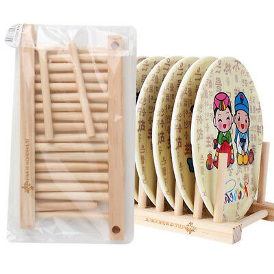 £4.89 • Buy 1Pc Wooden Dish Rack Kitchen Storage Drying Rack Drainer Plate Cups Holder