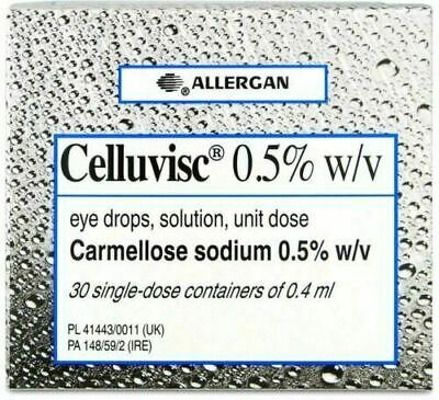 £9.99 • Buy Allergan Celluvisc 0.5% Eye Drops 30 Single Dose Containers Box Dry Eye Contacts