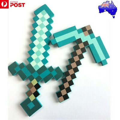 AU25.99 • Buy Minecraft Game Large Diamond Sword Pickaxe EVA Weapons Prop Toy Kids Gift