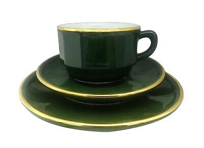 £14 • Buy Apilco Bistro Green & Gold, French Porcelain Coffee Cup, Saucer & Plate |  2nds