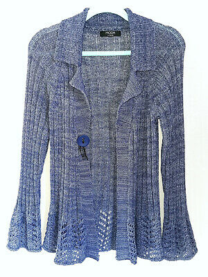 £4.99 • Buy Moda Blubell Ribbon Knit Cardigan With Lace Design & Flared Sleeves.UK 10.Casual