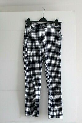 £7 • Buy Zara Basic Blue White Gingham Cropped Slim Fit Trousers Size XS