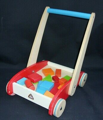 £24.99 • Buy Early Learning Centre Wooden Push Along Trolley + Colourful Bricks Preschool Toy