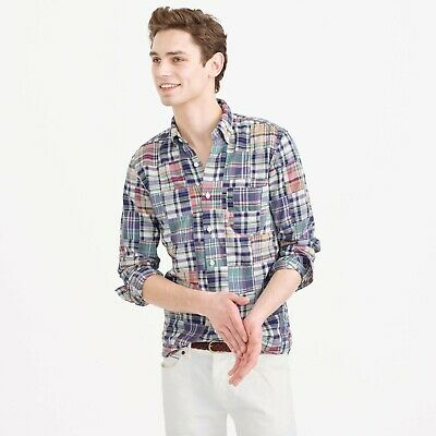 £21.82 • Buy J. CREW Indian Madras Slim Fit Shirt In Patchwork Plaid Button Up Casual Mens M