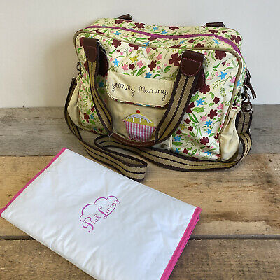 £25.99 • Buy Pink Lining Floral Yummy Mummy Baby Changing Nappy Bag With Changing Mat