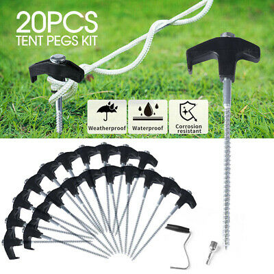 AU24.99 • Buy Mountview Tent Pegs Heavy Duty Screw Steel In Ground Camping Outdoor Stakes X20