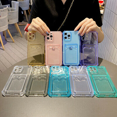AU12.30 • Buy Clear TPU Phone Case With Card Slot For IPhone 12 11Pro Max XS XR 8 Plus Samsung