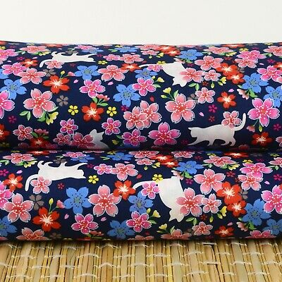 AU7.24 • Buy Cats & Cherry Blossom On Blue 100% Cotton Fat Quarter Fabric Quilting FQ #0180