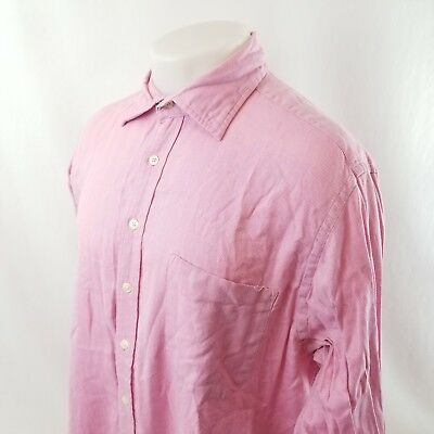 £8.76 • Buy Boden Mens Button Front Dress Shirt Sz 17 Pink Herringbone French Cuff A08-01