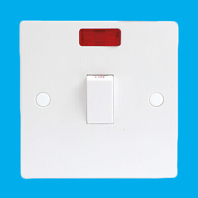 £5.49 • Buy 20Amp 1 Gang Double Pole Isolator Switch With Neon Light For Storage Heater Etc.