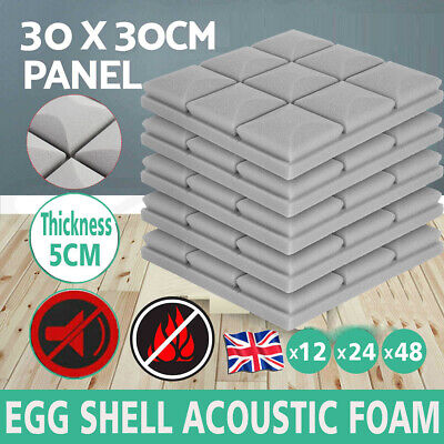 £50.99 • Buy 12/24/48 Acoustic Wall Panel Tiles Studio Sound Proofing Insulation Foam Pads