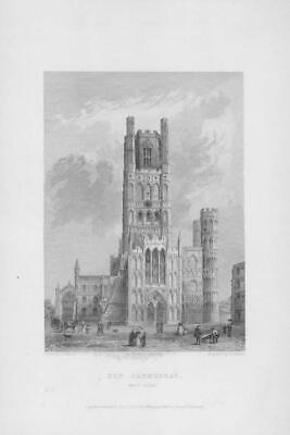 £10 • Buy 1838 Antique Engraving ELY CATHEDRAL WEST FRONT Cambridgeshire (WC17)