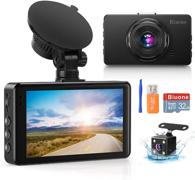 AU107.66 • Buy Dash Camera For Cars, Super Night Vision Dash Cam Front And Rear With 32G SD Car