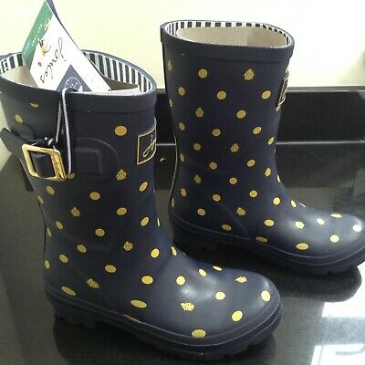 £38.80 • Buy Joules Blue Ladybird And Spot Molly Mid Height Wellies. Size 3. Brand New In Box