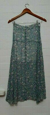 AU28 • Buy FOREVER NEW Designer Label Womens Green Floral Long Maxi A-line Skirt, Size 6