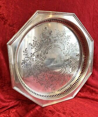 £15 • Buy Vintage Viners Of Sheffield Silver Plated Chased Octagonal Ornate Gallery Tray