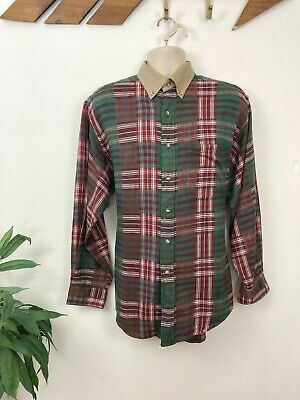 £12.99 • Buy Vintage Flannel Shirt. Men's Large. Green, Red, Check. Indian Cotton, 90's