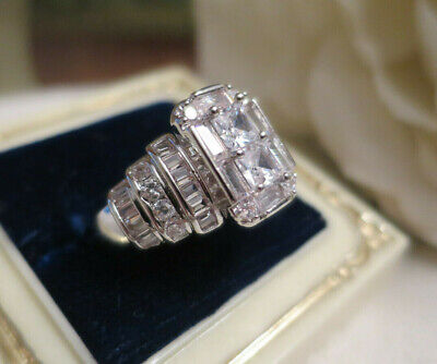 AU49.95 • Buy Vintage Jewellery Stunning Gold Ring White Sapphires Art Deco Design Size 9 (48)