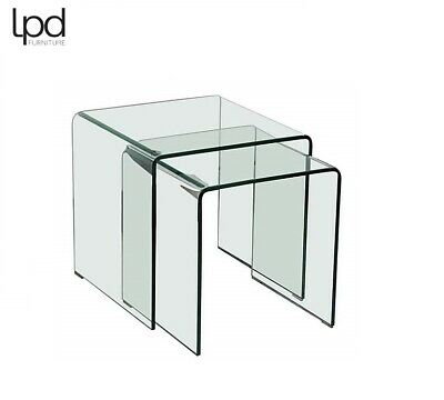 £119.99 • Buy Azurro Curved Clear Bent Glass Sculpted Nest Of 2 Tables  Brand New Boxed