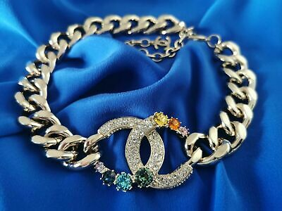 £1240 • Buy °°°new & Receipt°°° CHANEL CC Logo Choker Necklace With Crystals