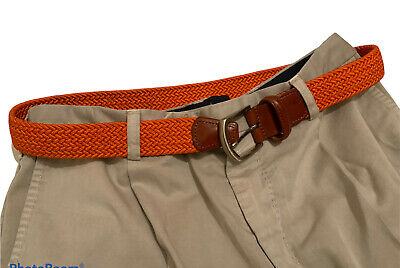 £34 • Buy Anderson's Mens Orange Stretch Woven Leather Belt Size 30 Made In Italy ..
