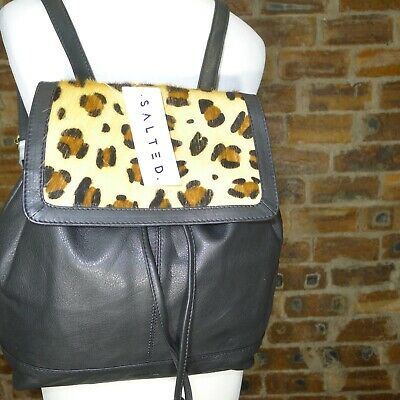 £45 • Buy Salted Black Leather/cow Hair Leopard Print Back Pack Bag Nwt