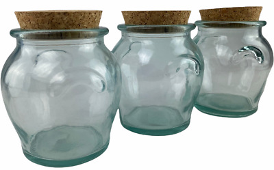 £9.99 • Buy Set Of 3 Glass Storage Jars With Cork Stopper/Lid - 500ml - Recycled Glass