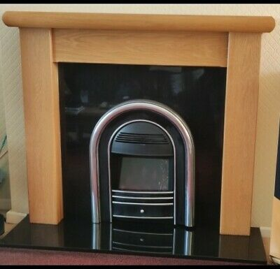 £110 • Buy Valor Electric Fire With Granite Hearth & Back Panel Set & Wooden Surround.