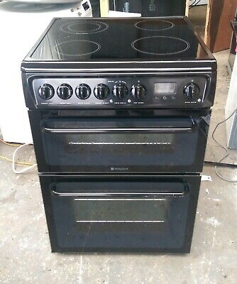 £135 • Buy 6 MONTHS WARRANTY Hotpoint 60cm, Double Oven, Black Electric Cooker