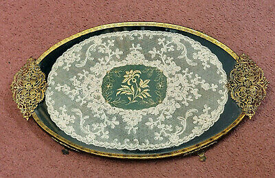 £19.99 • Buy A Vintage Brass Metal Lace & Gold Thread Embroidery Vanity Dressing Table Tray.