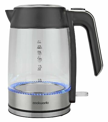 £19.95 • Buy Cookworks Illuminating Transparent Kettle 2.2kW 1.7L - Glass & Stainless Steel.