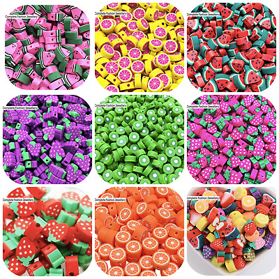 £1.99 • Buy 20 Multicoloured Fruit Shaped Polymer Clay Beads For Jewellery Making
