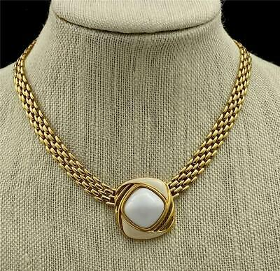 £34.86 • Buy Vintage TRIFARI Gold Tone Panther Link Chain Necklace With Enamel Center Piece