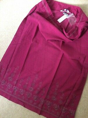 £9.90 • Buy New Penny Plain Skirt Size 16 Cotton Cord With Embroidery