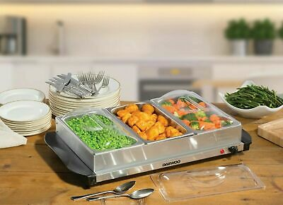 £29.99 • Buy Daewoo Electric Buffet Server Small 3x 1.5L 200w Stainless Steel Plate Warmer