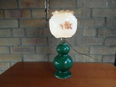 £17.95 • Buy Vintage Pottery Table Lamp  With 1960's/70's Floral Design Glass Shade