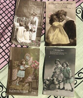 £0.99 • Buy Vintage Birthday Postcards, Scrapbooking, Nostalgia And Collectables, Four Used