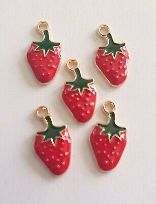 £2.65 • Buy 🍓 5 Strawberry Fruit Charms For Jewellery Making Crafts Enamel Gold Tone