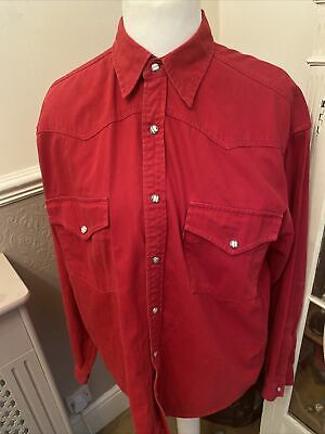 £19 • Buy Vintage LEVI Red Tab Red Denim Long Sleeved Shirt With Pearl Snap Buttons Size M