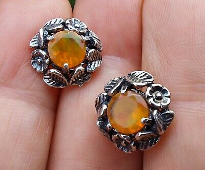 £7.10 • Buy Vintage PZ Israel 925 Decorated Silver And Fire Opal (Faceted) Stud Earrings