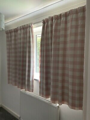 £10 • Buy Baby Girls Pink Curtains Laura Ashley Pale Pink Gingham 134cm Drop X54cm Width