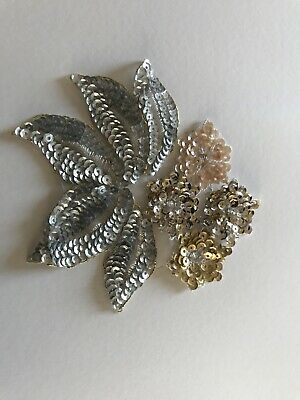 £10 • Buy Applique Sequin Flower Motif Haberdashery Embroidery Silver Gold Blush