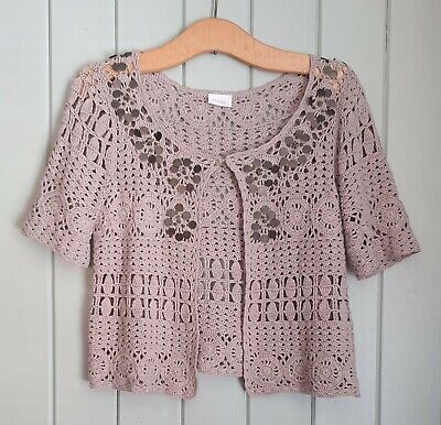 £9.99 • Buy CHANGES By TOGETHER Taupe Crochet & Sequin Short Sleeved Cardigan Shrug Size 10