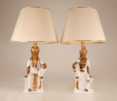 £2069.94 • Buy Mid Century Hollywood Regency Figural Table Lamps Chinoiserie Ceramic A Pair