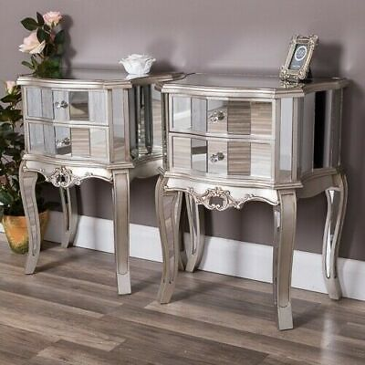 £230 • Buy Pair Of Silver Mirrored Bedside Table Chest Venetian Bedroom Furniture Cabinet