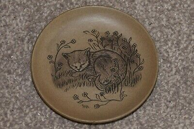 £4 • Buy Poole Pottery Brown Stoneware Cat Plate 15cms Unboxed