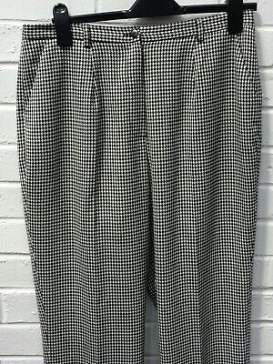 £5.69 • Buy Cotswold Collection White Black Houndstooth Wool Blend Trousers UK 16 #CF GA2148